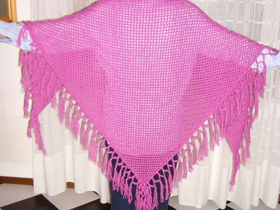 Scialle a filet con frange all'uncinetto - Crochet fringed shawl tutorial (ENG SUB) parte 2.2