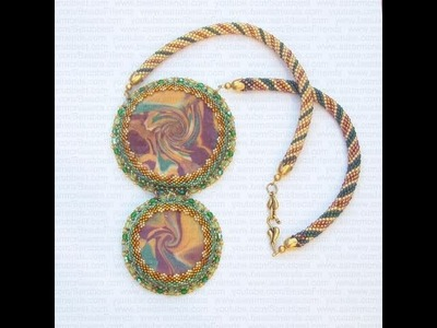 Collana con perline: dischi in Fimo incastonati al Peyote e spirale crochet | Nuove Creazioni