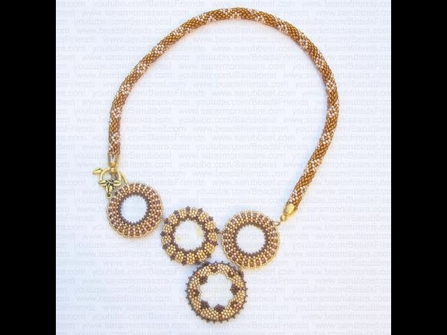 Collana con perline: dischi in madreperla incastonati al Peyote e Spirale Crochet | Nuove Creazioni