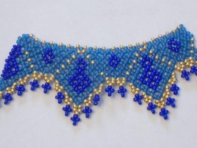 Campione di collana con perline creato usando la tecnica Netted | Nuove Creazioni