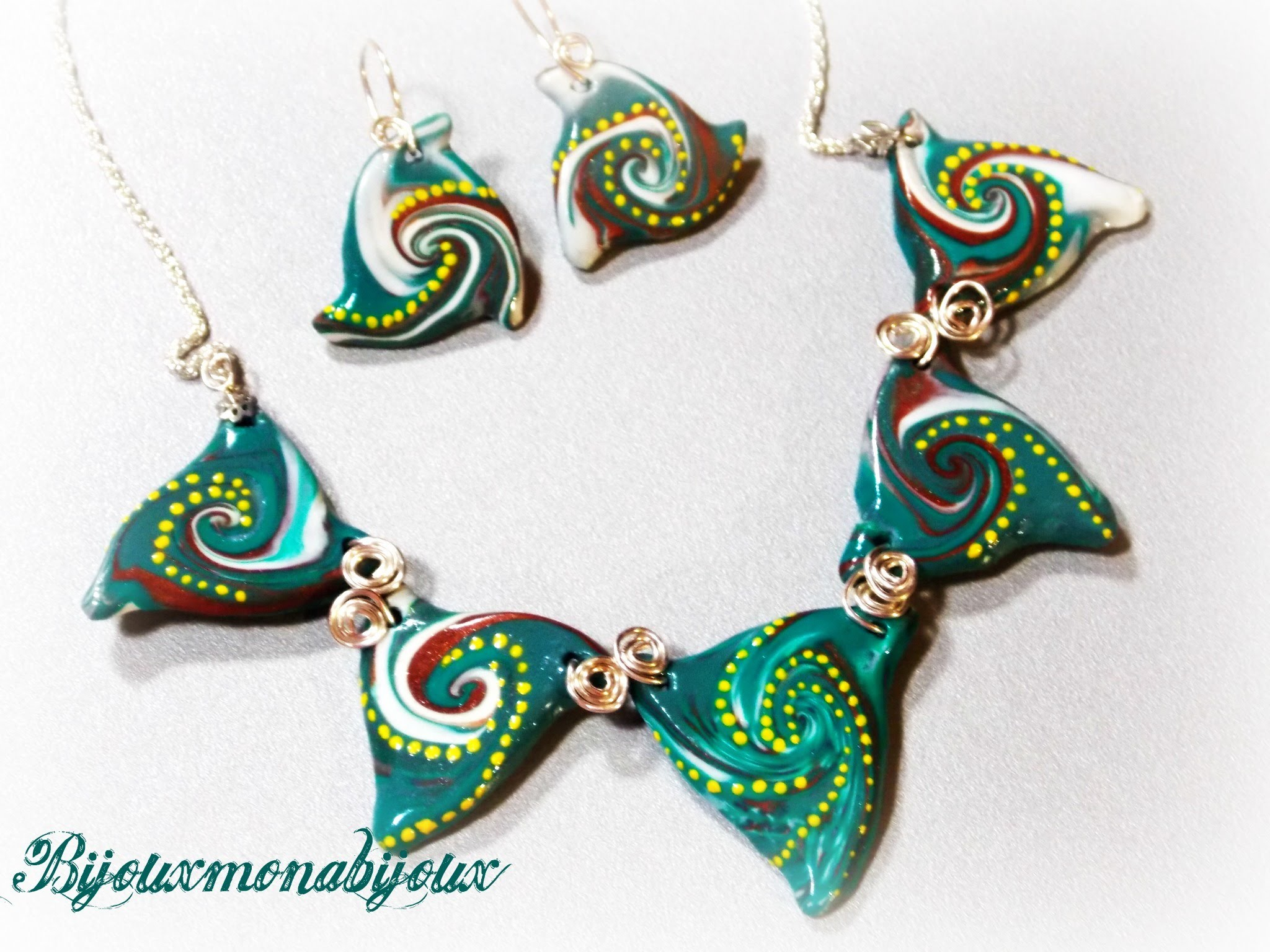 Polymer clay triangle swirl