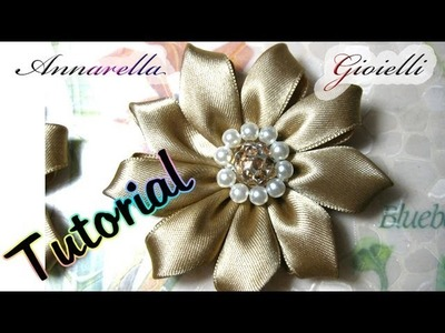 Tutorial Kanzashi con nastro di raso | Fabric flower tutorial