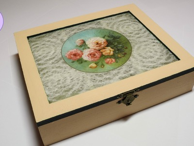 Tutorial: Scatola porta bustine da Tè in pizzo e decoupage (tea bags holder box) [eng-sub]