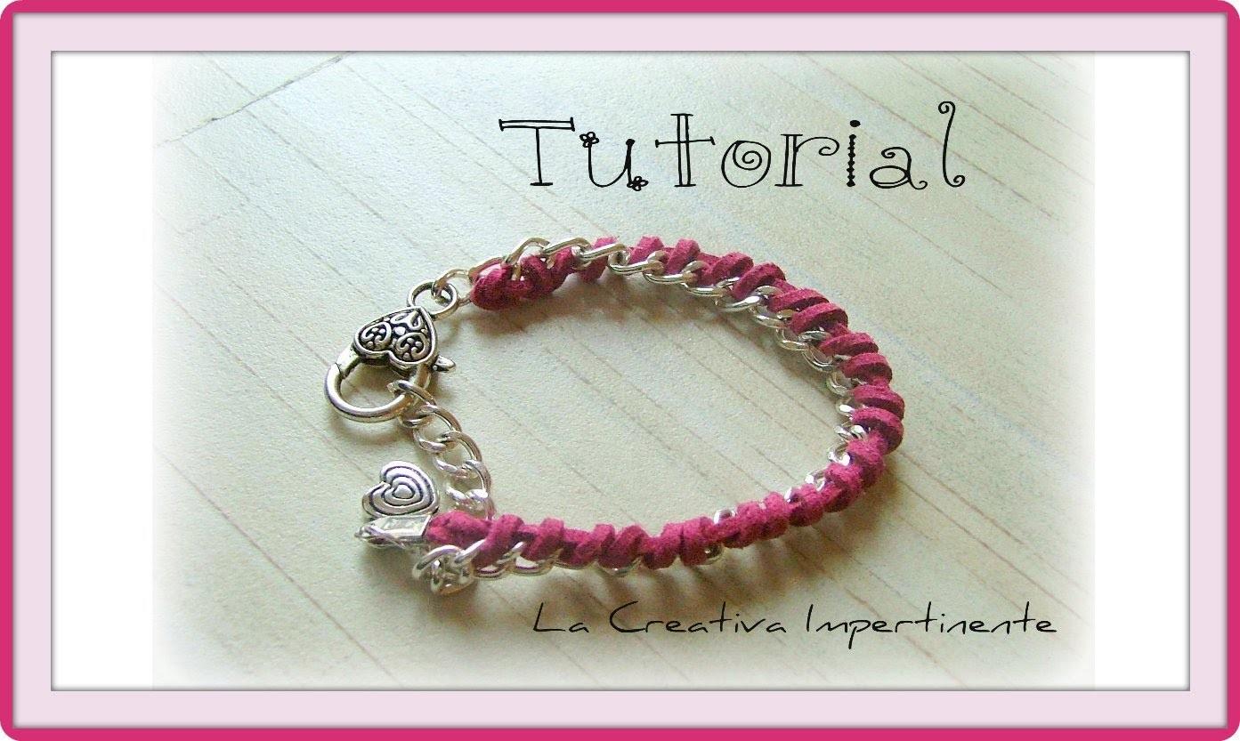 DIY - 2° Tutorial bracciale catena ed alcantara o qualsiasi altro nastro o filo ( bracelet )