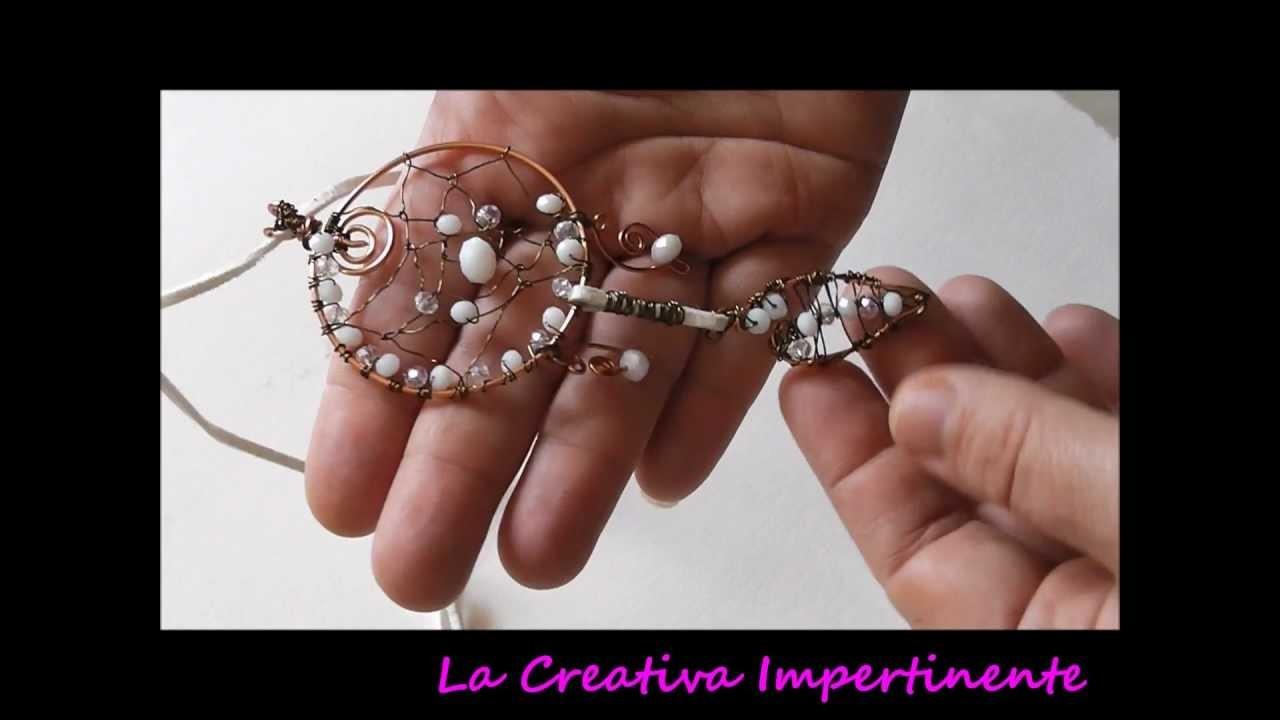 Nuove creazioni wire, 3d raw - dreamcatcher, beads heart, wire heart pendant