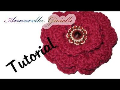 Tutorial uncinetto | Fiore 3D facile facile | Rosa uncinetto