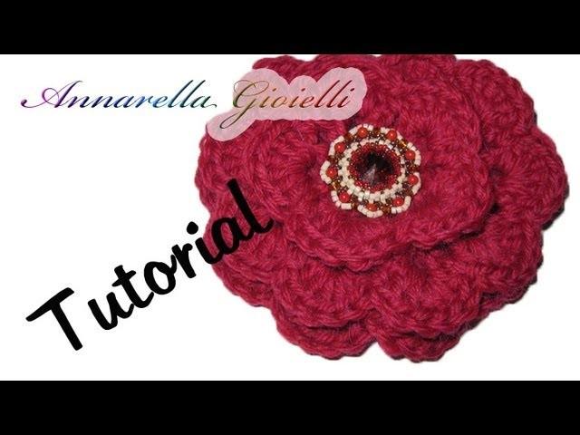 Tutorial uncinetto   Fiore 3D facile facile   Rosa uncinetto