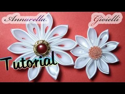 Tutorial | Kanzashi tsumami | Fiore di raso | Satin flower