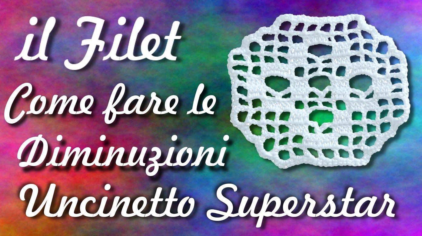 Diminuzioni a filet - Uncinetto | Filet crochet tutorial: how to decrease