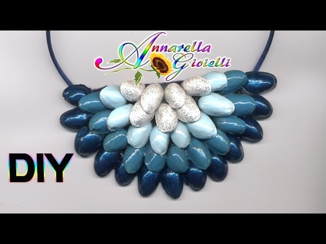 Riciclo creativo   Tutorial collana pistacchi   DIY recycle statement necklace