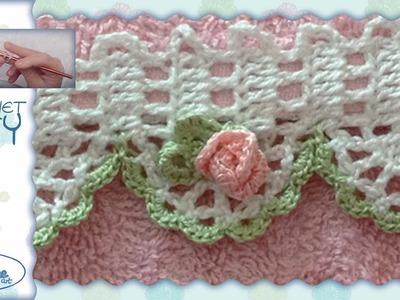 Tutorial Uncinetto ❀ Rosellina ❀ (bordino parte 2) [crochet small rose, edge part 2] [pattern]
