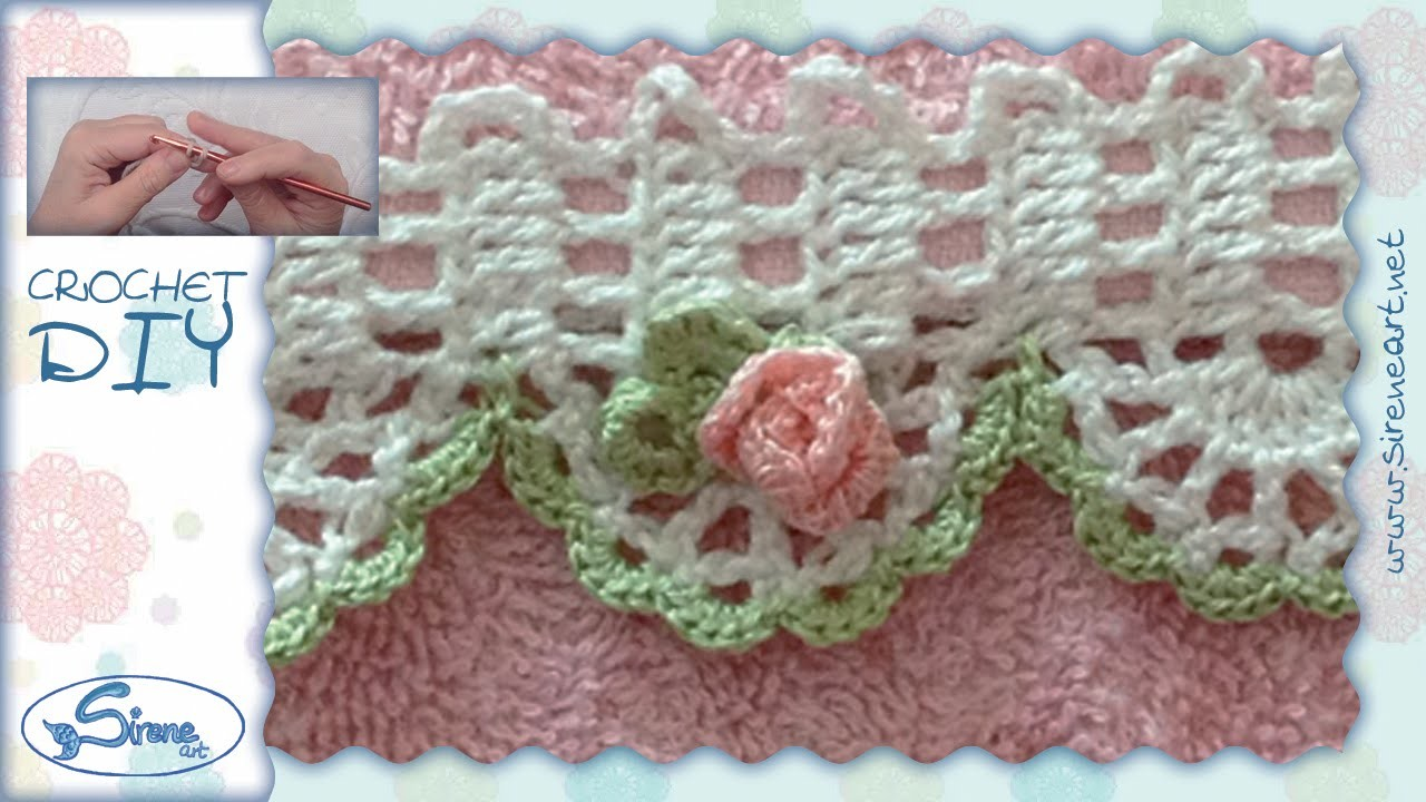 Tutorial Uncinetto ❀ Rosellina ❀ (bordino parte 2) [crochet small rose, edge part 2] [pattern]