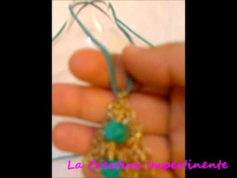 Creazioni Ciondolo, orecchini - Uncinetto e filo metallico | wire crochet pendant, earrings