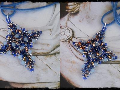 """DIY """" Croce Oscar """" Double Face - Tutorial crocetta superduo bicono perline Cross Beads"""