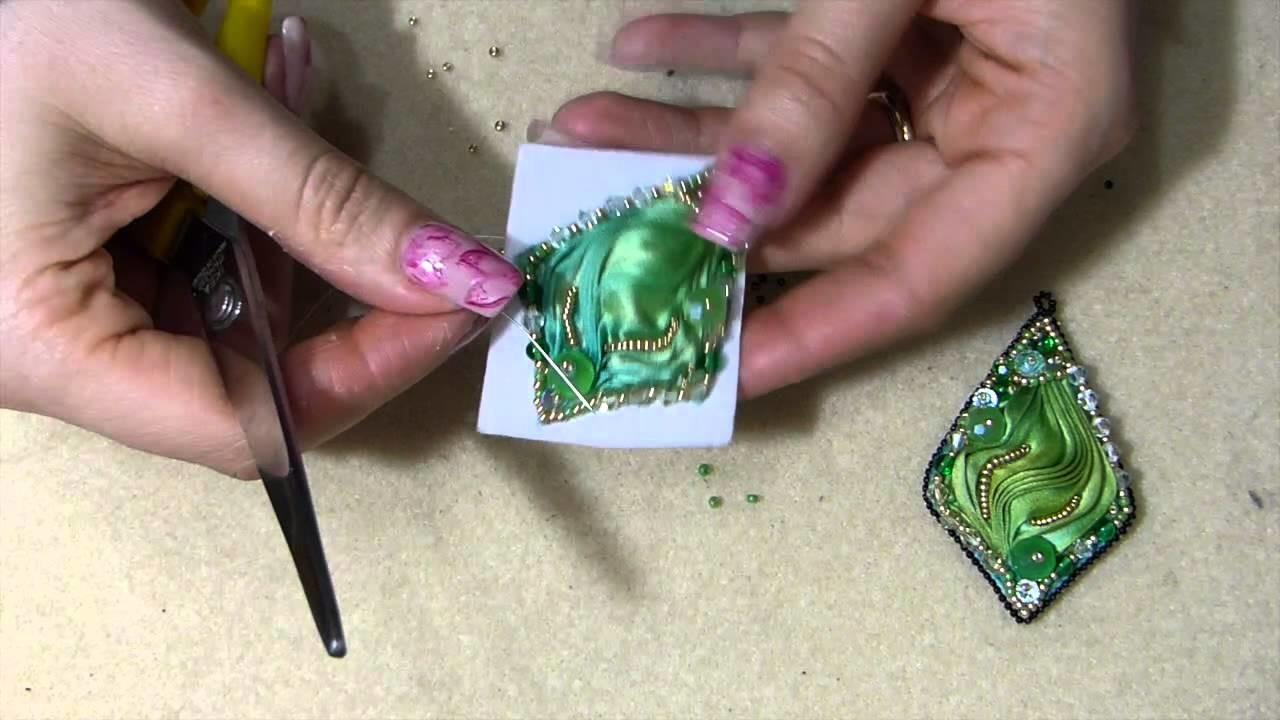 DIY orecchino o ciondolo con seta shibori ribbon tutorial fai da te embroidery parte 2