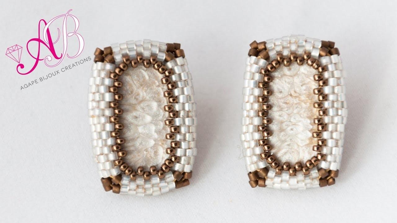 DIY Tutorial   Come incastonare un rettangolo con angoli vivi a peyote - Geometric Elegance Earrings