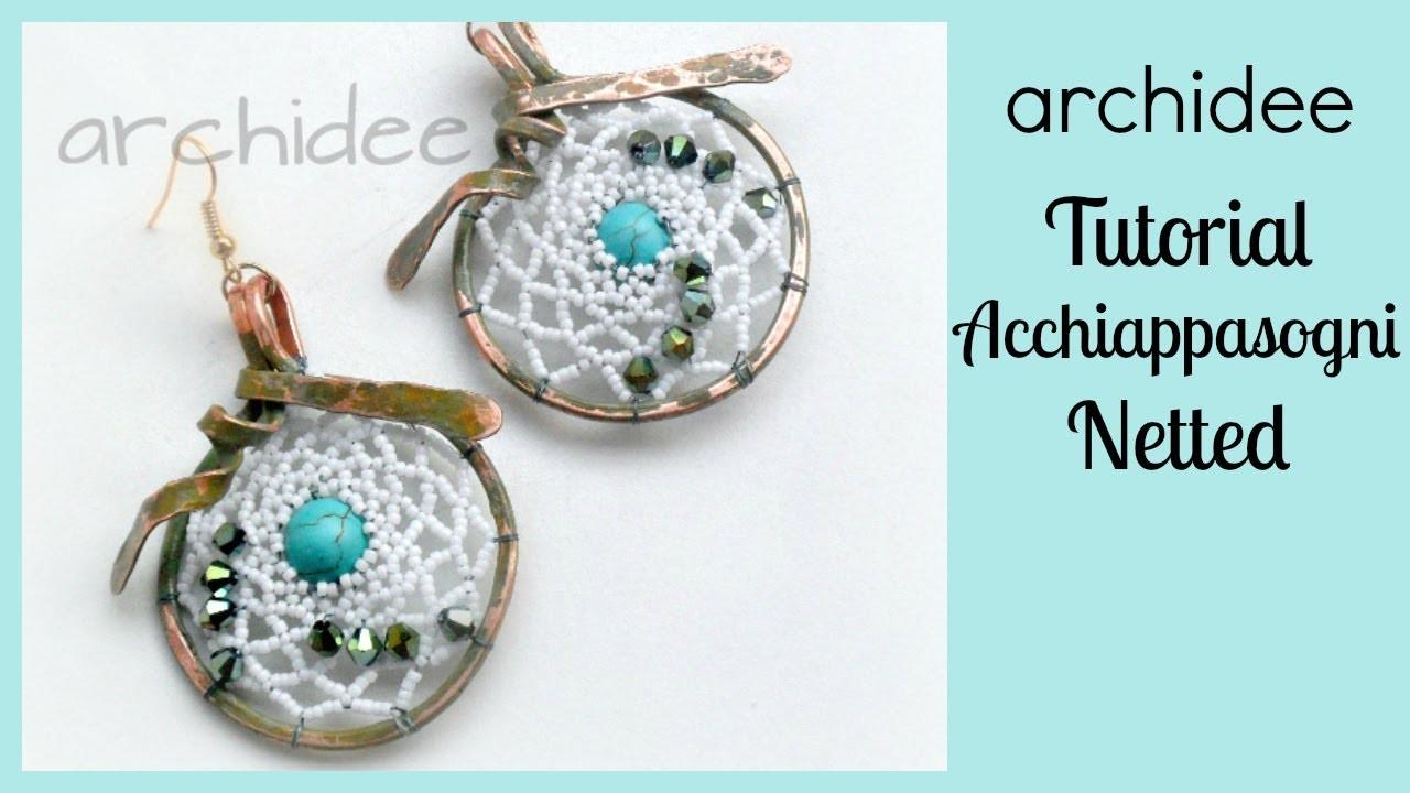 Perline Netted   Tutorial   Acchiappasogni su base in wire   DIY Beadwork   Dreamcatcher