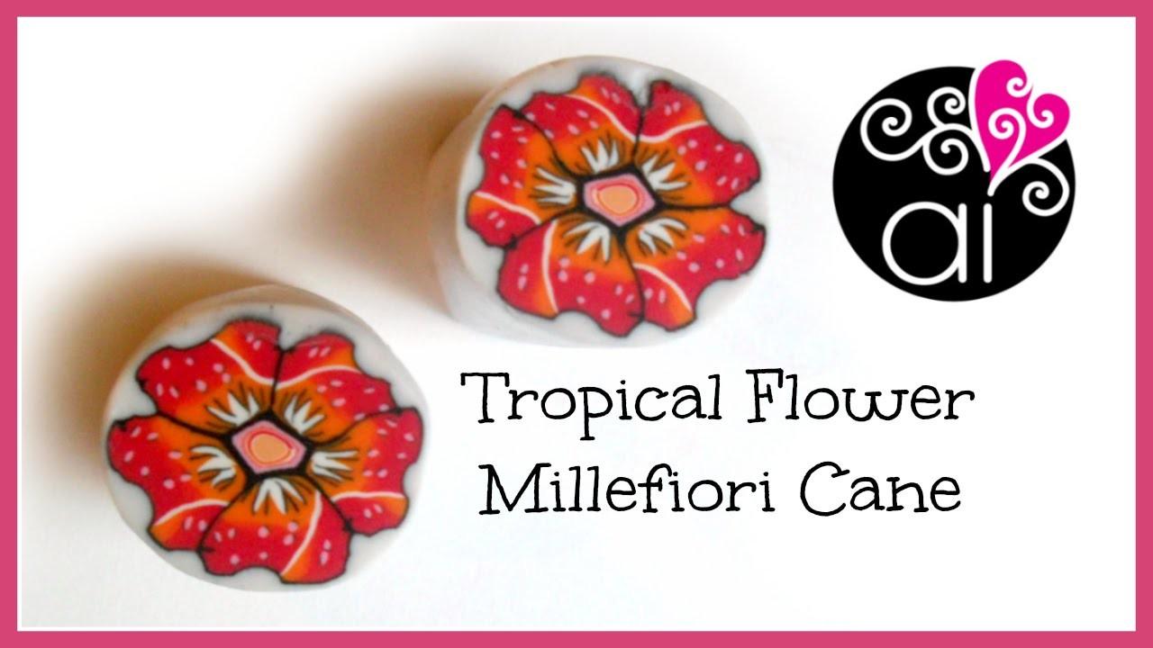 Tropical Flower Cane   Polymer Clay Tutorial   Millefiori Cane   Murrina Fiore Tropicale