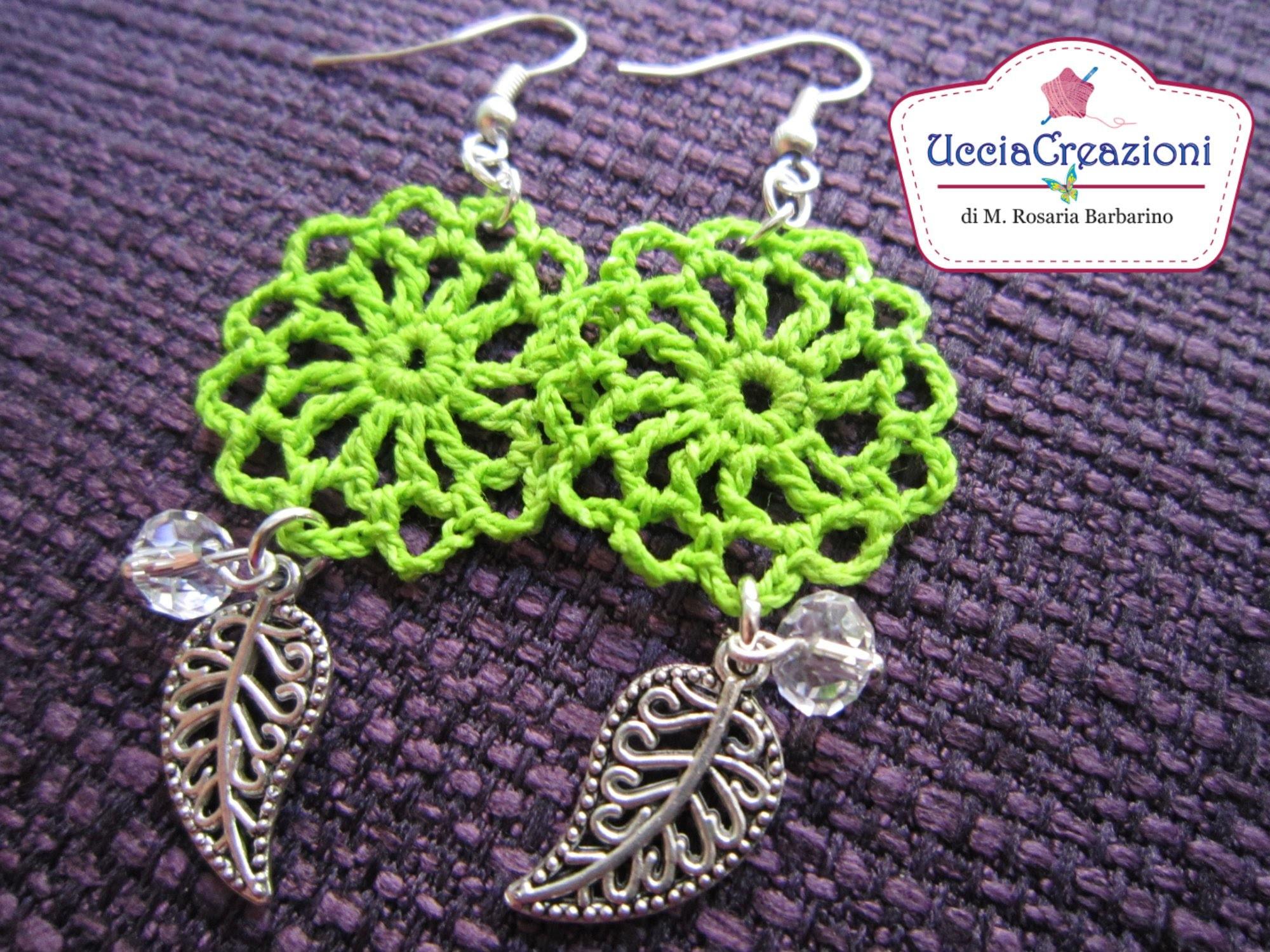 Tutorial 3 . * Orecchini Primavera all'uncinetto *  How to do Spring Crochet Earrings