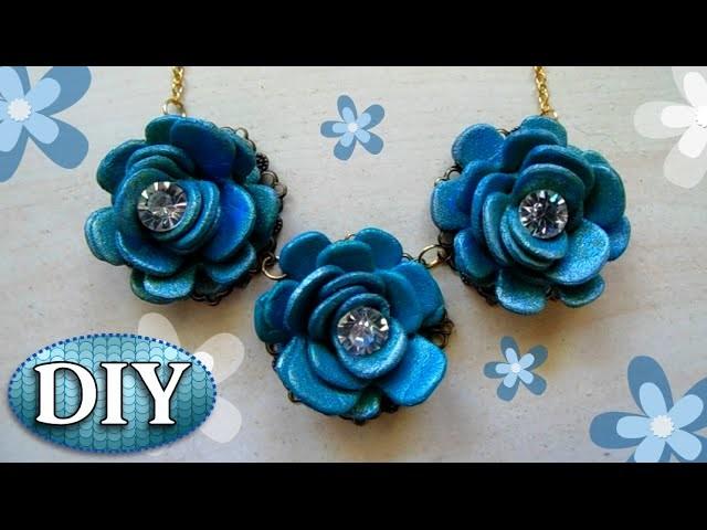 Tutorial: Collana con Fiori blu Fai Da Te | DIY Necklace with blue flower