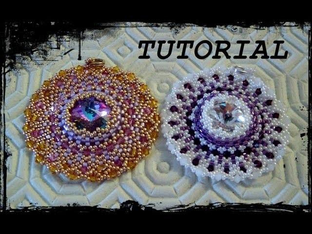 """Tutorial Peyote: Ciondolo """"Life Circle"""" realizzato con perline delica, rocaille e bicono swarovski."""