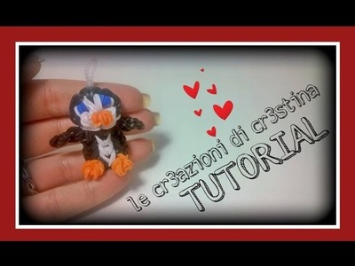 Tutorial Pinguino con Elastici RAINBOW LOOM - DIY Pinguin Charm
