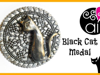 Black Cat Medal | Polymer Clay Tutorial | Medaglione Gatto Nero | Happy Halloween