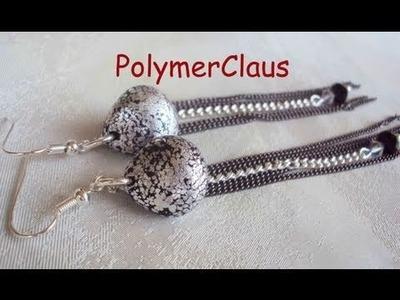 Orecchini con perle a goccia e foglia argentata (polymer clay tutorial)