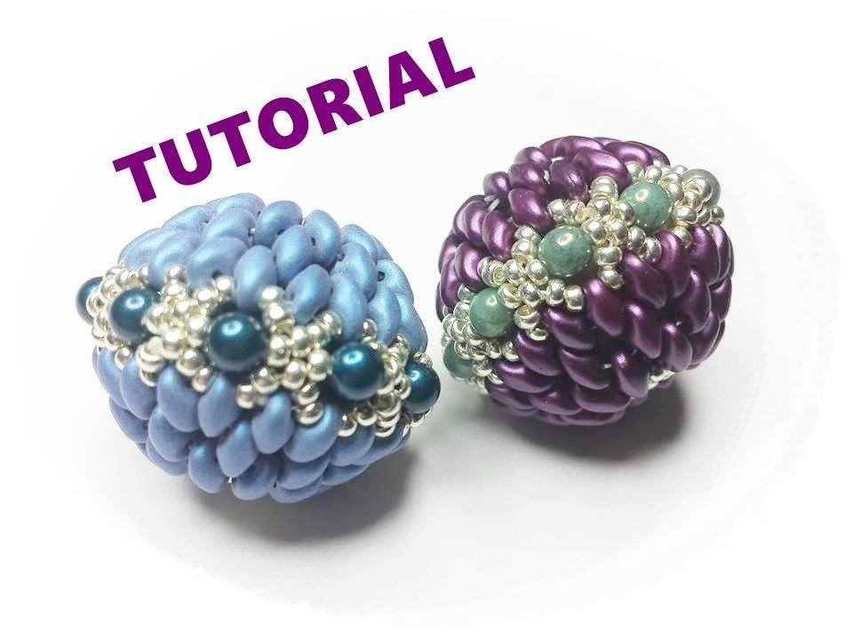 Tutorial con superduo: come rivestire una sfera con perline. Sfera Tiki