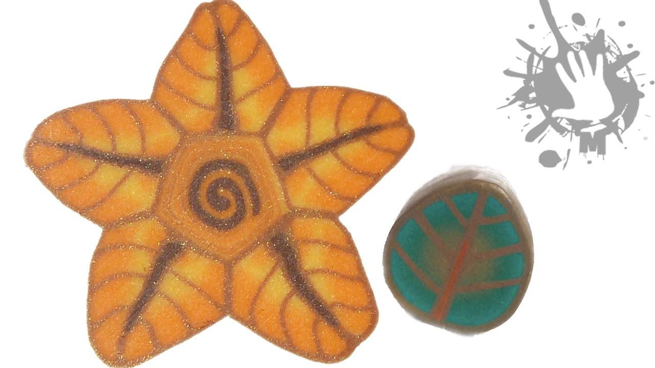 Polymer clay tutorial murrina Foglia e fiore foglia. millefiori cane Leaf and flower leaf