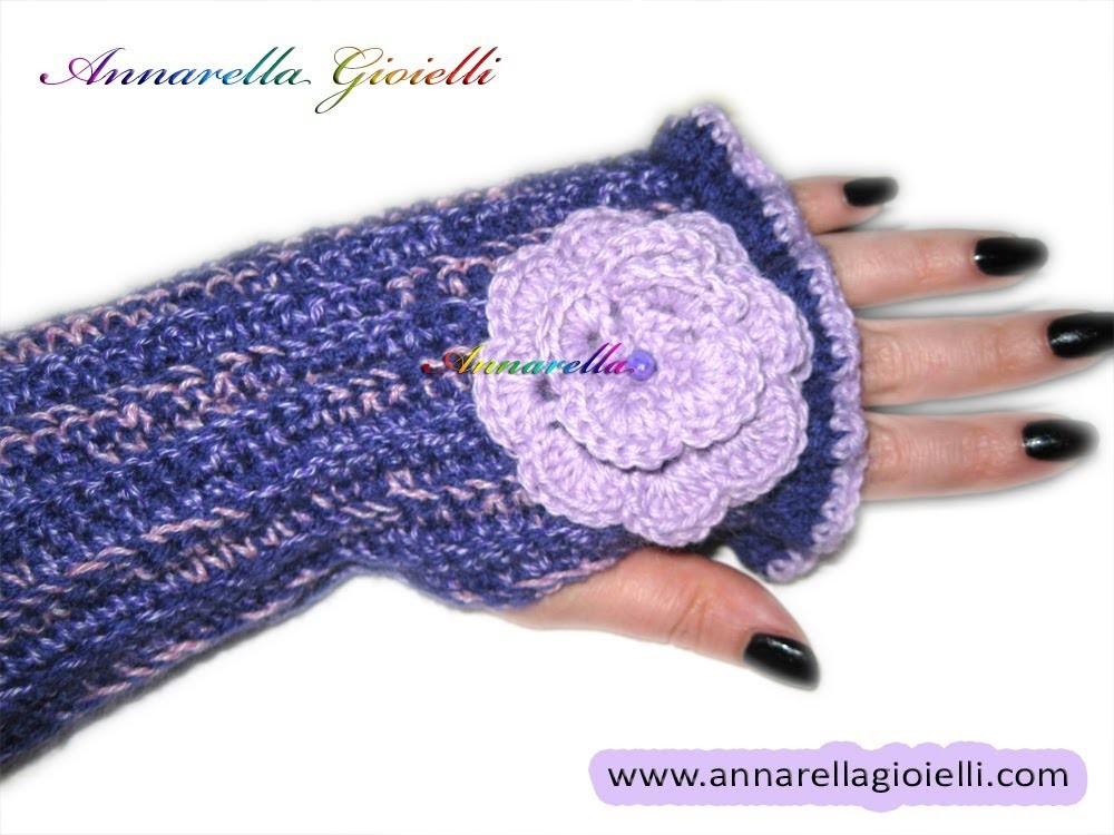 Schema uncinetto | mezzi guanti con fiori rosa