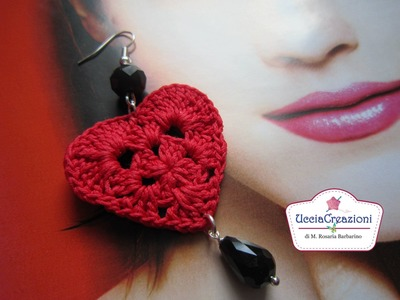 TUTORIAL 1 . * ORECCHINI CUORE ALL' UNCINETTO * HOW TO EARRINGS HEART CROCHET