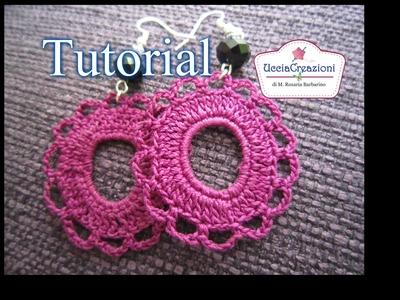 Tutorial 11. Orecchini Rotondi all' Uncinetto   How to Crochet Round Circle Earrings
