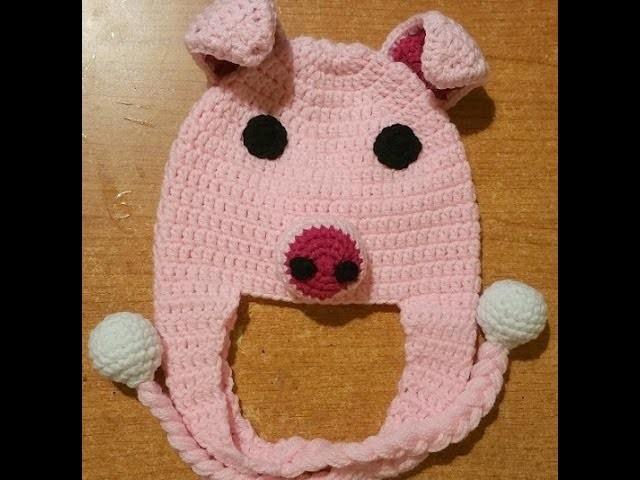 """Tutorial cappellino all'uncinetto con paraorecchie  """"maialino"""" - crochet hat -  boina crochet"""