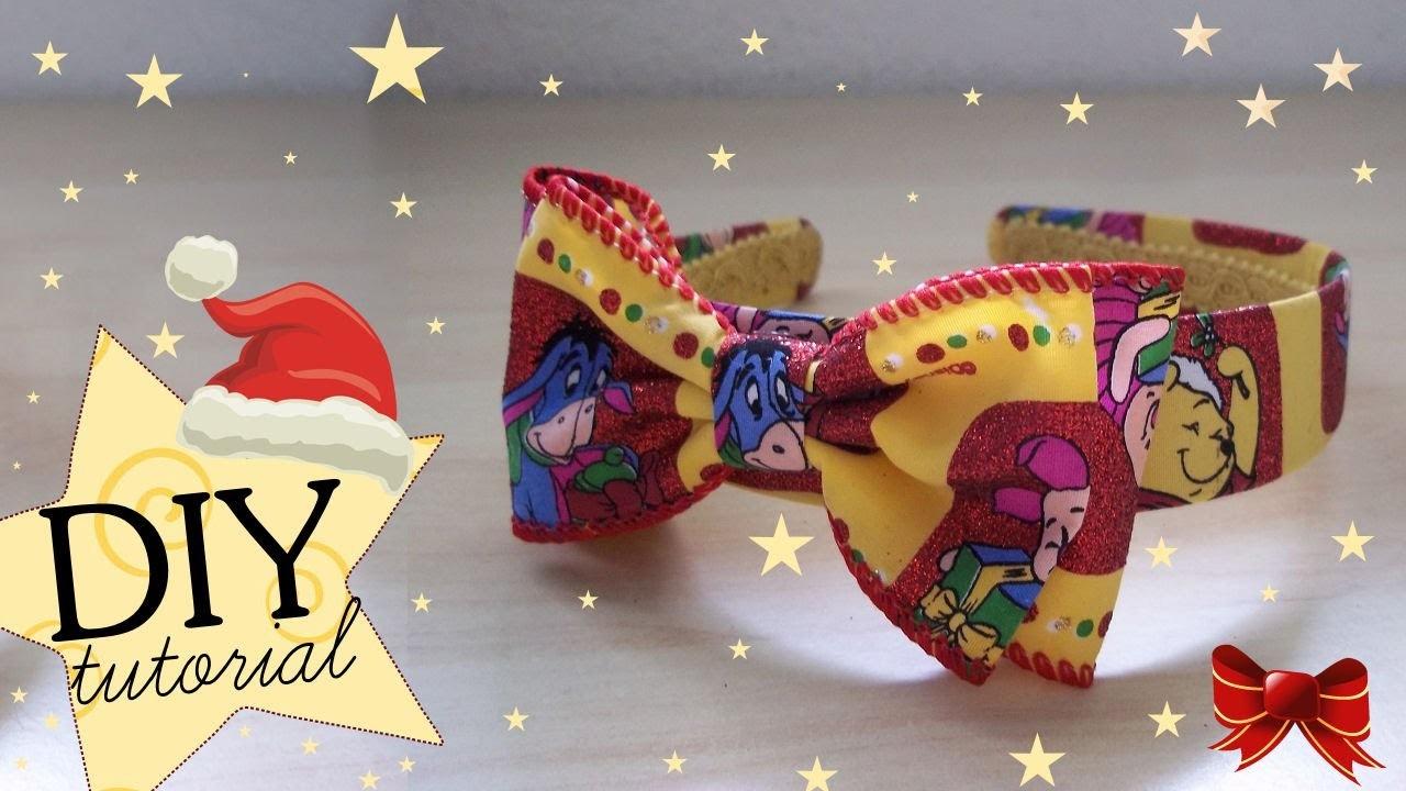 Tutorial: Cerchietto per Capelli Natalizio ☃ DIY Christmas Hairband with Bow ❅
