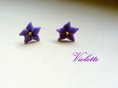 Violette: Orecchini in Fimo e Cernit ❀ Violets Earrings (Polymer Clay Tutorial)