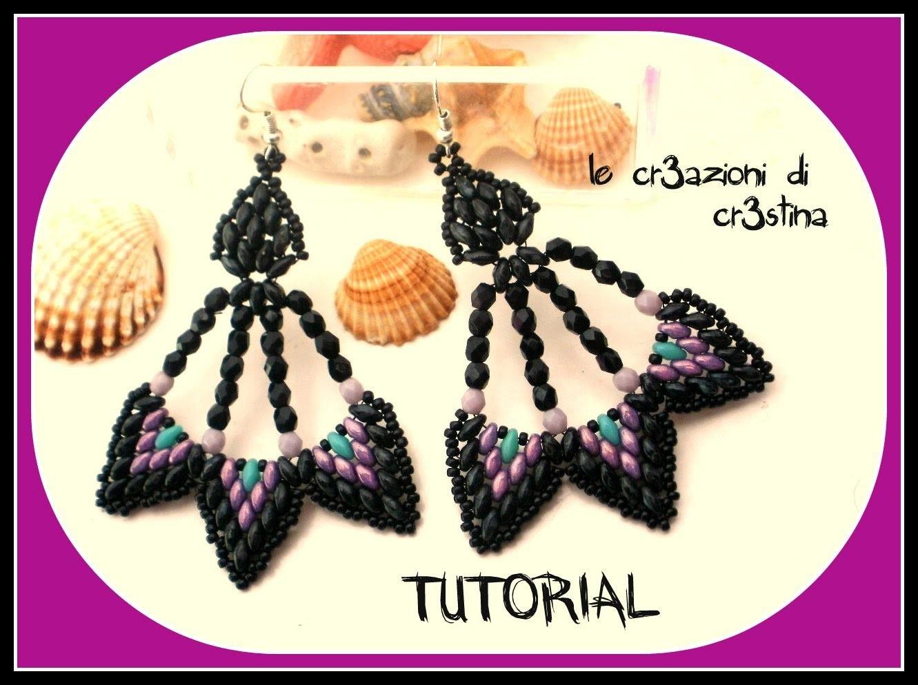 Tutorial Orecchini Peacock con Superduo.Twin Beads, Mezzi Cristalli, Perline Rocailles-DIY earrings