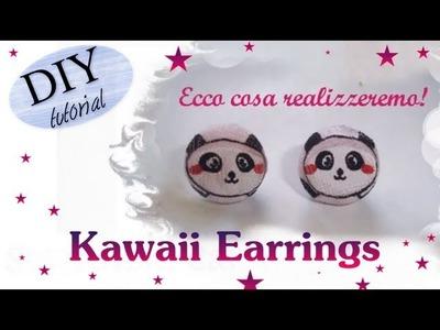 DIY. TUTORIAL: Come creare orecchini a lobo.perno con dei Panda Kawaii. Kawaii Earrings