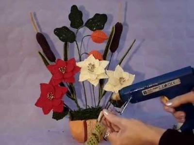 Come creare una composizione di fiori all'uncinetto