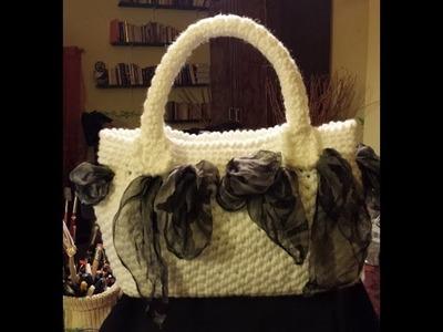 """Borsa all'uncinetto """"foulard e punto paniere"""" - Tutorial borsa uncinetto"""