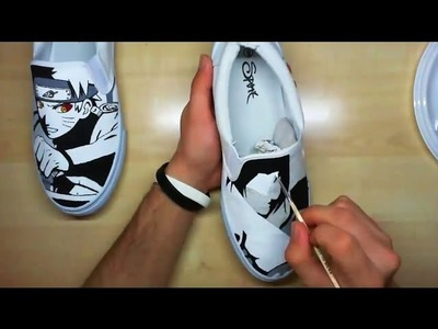 """Naruto vs Sasuke"" Custom Painted Shoes 