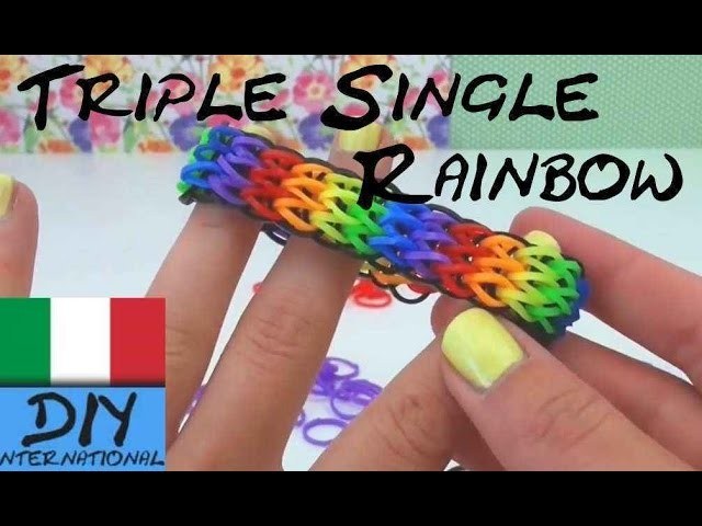 Come fare i braccialetti con gli elastici con la forchetta - TRIPLO SINGOLO Rainbow Loom en Italiano