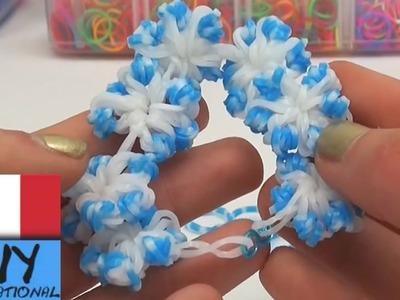 Braccialetto con fiori di elastici colorati. braccialetto invernale con fiori