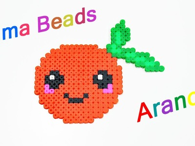 Arancia Kawaii con Hama Beads. Perler Beads Orange ✿