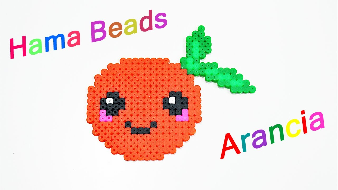 Arancia Kawaii con Hama Beads. Perler Beads Orange ✿