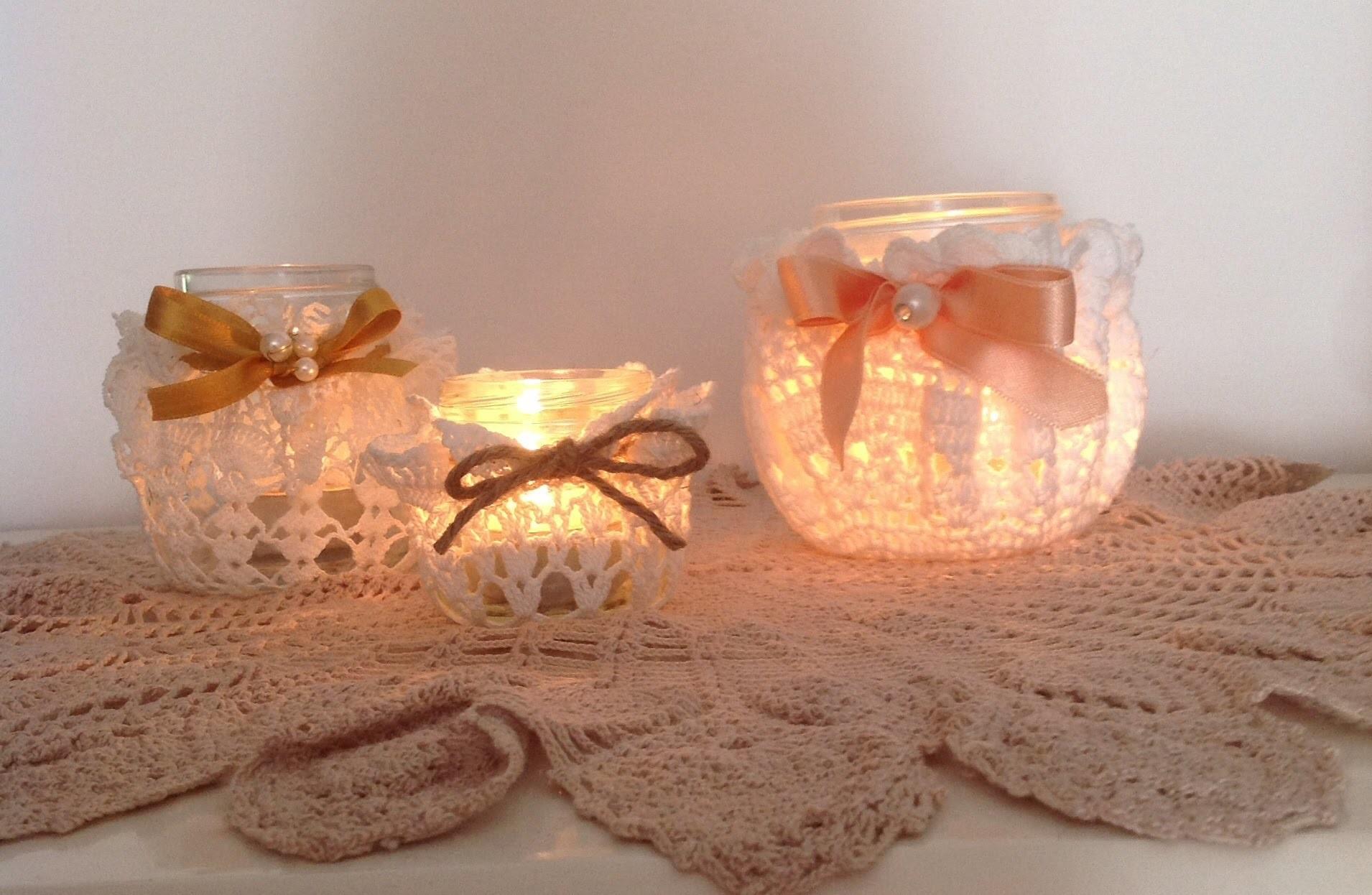 DIY- Porta candela Shabby chic con merletto (senza colla)