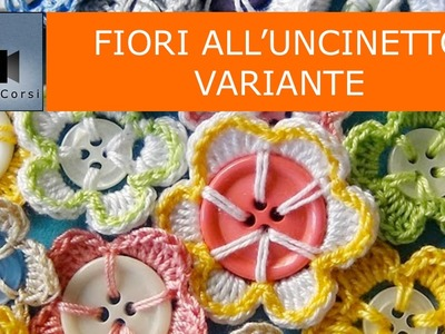Fiori all'Uncinetto con bottoni usati - variante
