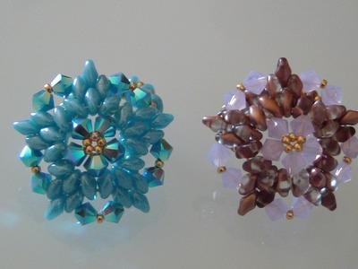 """Tutorial Perline: Anello """"Cristell"""", realizzato con perline rocaille, superduo e swarovski"""