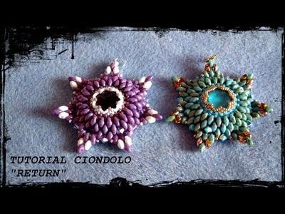 """Tutorial Perline: Ciondolo """"RETURN"""" realizzato con delica, rocaille, swarovski e superduo"""