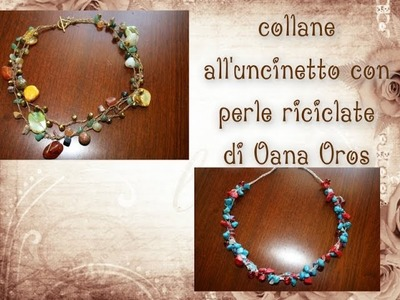 Collana con perle fantasia all'uncinetto